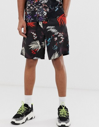 Diesel P-Notery floral print shorts in black