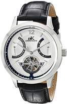 Adee Kaye Men's AK2241-MRG/SV Silvertone Case, Silver Dial, Black Band Watch