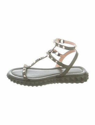 Valentino Rockstud Accents Leather T-Strap Sandals Green