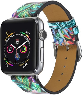 Posh Tech Pink/Green Banana Leaf Printed 42mm/44mm Apple Watch 1/2/3/4/5 Leather Band