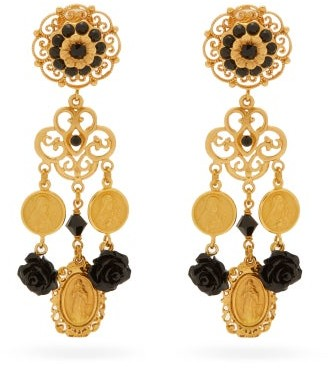 Dolce & Gabbana Rose And Medallion Gold-plated Clip Earrings - Black