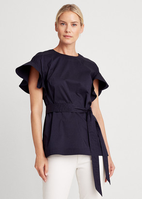 Ralph Lauren Flutter Sleeve Cotton Top