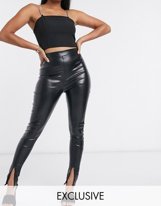 Femme Luxe exclusive pu split front trouser in black