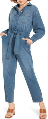 ELOQUII Long Sleeve Denim Jumpsuit