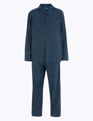 Marks and Spencer Brushed Cotton Striped Pyjama Set