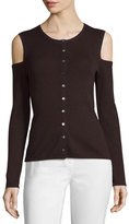 Yigal Azrouel Cold-Shoulder Button-Front Cardigan, Bordeaux