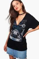 boohoo Ivy Oversized Embellished Choker Neck T-Shirt