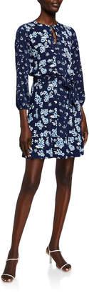 MICHAEL Michael Kors Printed Tie-Neck 3/4-Sleeve Dress