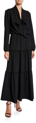 Melissa Masse Bow Tie Long-Sleeve Tiered Long Tissue Crepe Dress