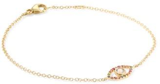 Anzie 14K Yellow Gold, Multicolor Sapphire & White Topaz Evil Eye Bracelet