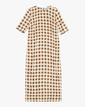 Ganni Satin Silk Midi Dress