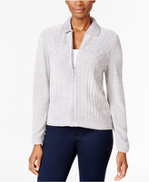 Alfred Dunner Petite Cable-Knit Zip-Up Cardigan