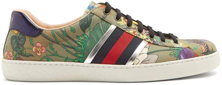 Gucci New Ace canvas low-top trainers