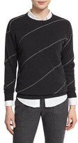 Brunello Cucinelli Monili-Stripe Drop-Shoulder Sweater, Onyx
