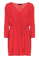 Quiz Curve Red Chiffon Wrap Tie Front Top