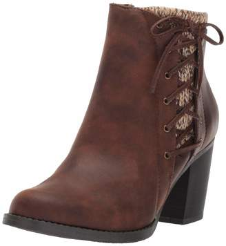 Sugar Women's Puckered Side Lace Up Sweater Lined Ankle Bootie Boot