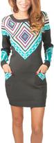 Yuka Paris Gray & Blue Geo Sweater Dress