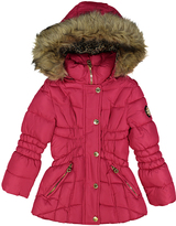 Catherine Malandrino Fuchsia Faux Fur Hooded Puffer Jacket - Girls