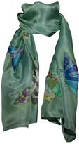 Invisible World Hand-Painted 100% Silk Scarf - Butterflies on