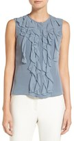Elie Tahari Women's 'Estella' Sleeveless Ruffle Front Silk Blouse