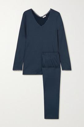 Hanro Bea Lace-trimmed Mercerized Cotton Pajama Set - Navy