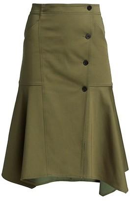 Derek Lam 10 Crosby Nadia Button Detail Midi Skirt