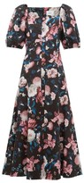 Erdem Mariona Dusk Bouquet-print Cotton-blend Midi Dress - Womens - Black Pink