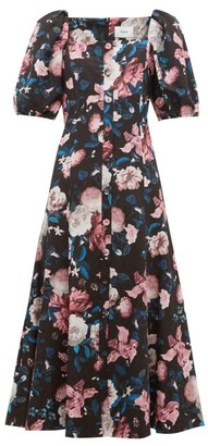 Erdem Mariona Dusk Bouquet-print Cotton-blend Midi Dress - Black Pink