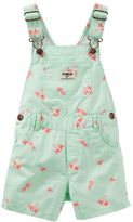 Osh Kosh Baby Girl Embroidered Palms Twill Shortalls