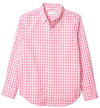 crewcuts by J.Crew Long Sleeve Gingham Shirt (Toddler/Little Kids/Big Kids) (Fuchsia/White) Boy's Clothing