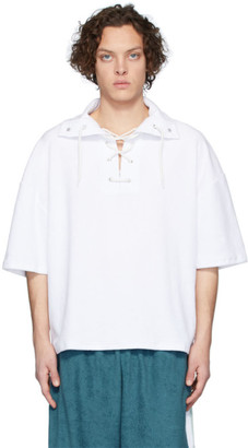 Martin Asbjorn White Ripley Lace-Up Polo