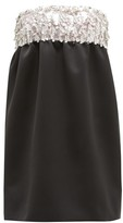 Miu Miu Crystal-embellished Satin Mini Dress - Womens - Black Multi