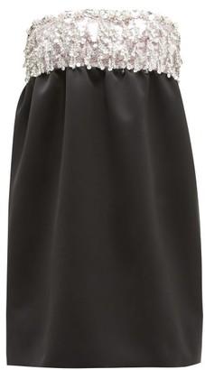 Miu Miu Crystal-embellished Satin Mini Dress - Black Multi