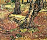 Spiffing Prints Vincent Van Gogh - Stone Bench in the Garden at Saint-Paul Hospital - Extra Large - Semi Gloss - Brown Frame