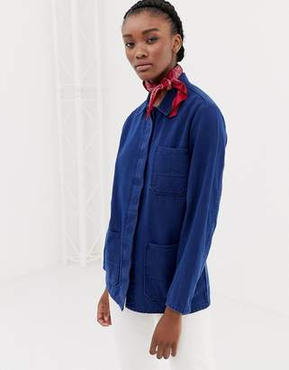 Asos Design DESIGN denim shacket in midwash blue