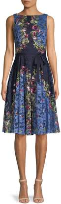 Gabby Skye Floral Belted Lace Dress