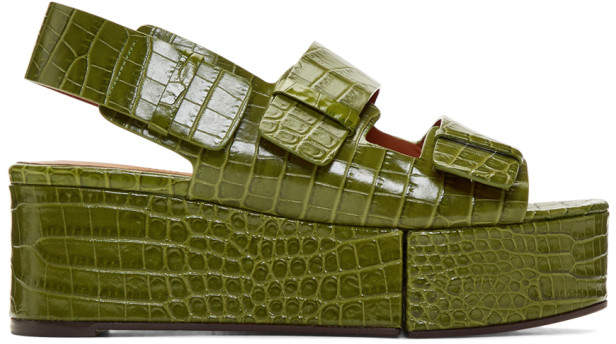 Clergerie Green Croc Arena Sandals