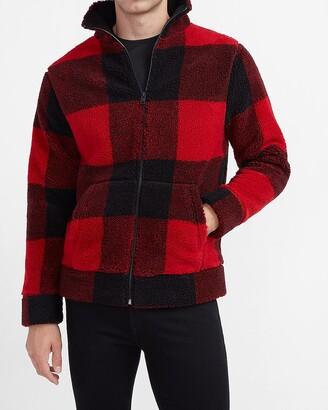 Express Red Check Print Sherpa Jacket