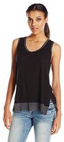Michael Stars Women's Luxe Slub Scoop Tank with Mesh Trim