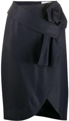 Victoria Victoria Beckham Asymmetric Front Bow Skirt