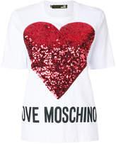 Love Moschino sequin heart patch T-shirt
