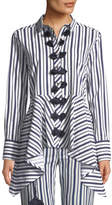 Figue Marta Long-Sleeve Button-Front Striped High-Low Tunic Top