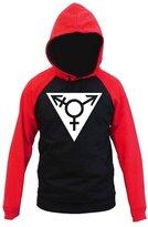 Interstate Apparel Gay Pride White Triangle Men's Red/ Raglan Hoodie Sweater V204