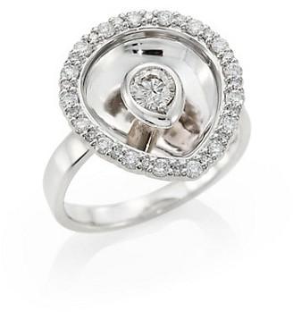 Plevé Aura 18K White Gold & Diamond Pear Ring