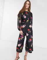 Lost Ink waisted jumpsuit in bold floral print