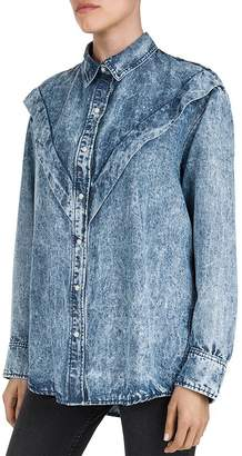 The Kooples Oversized Faded Chambray Shirt