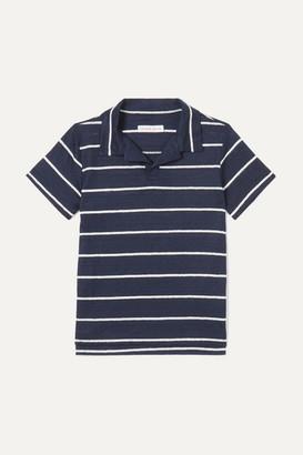 Orlebar Brown Kids - Freddy Striped Linen-jersey Polo Shirt - Navy