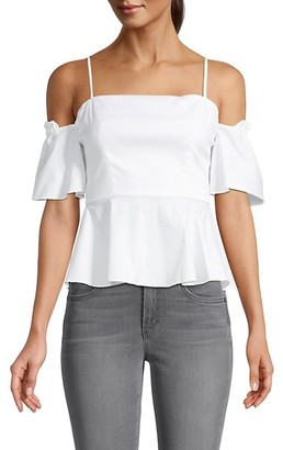 Milly Noelle Cold-Shoulder Ruffle Top