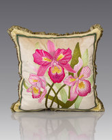 """Jay Strongwater Orchid Pillow, 20""""Sq."""