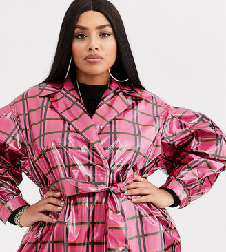 Asos DESIGN Curve vinyl check trench coat in pink